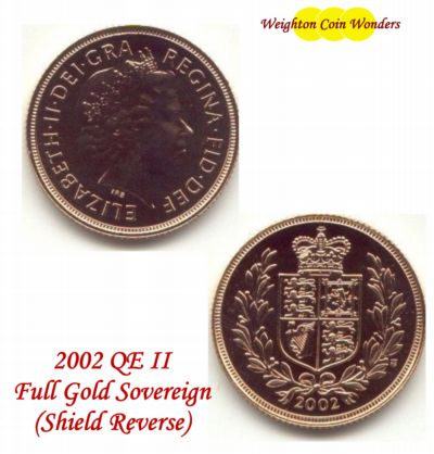 2002 QE II Gold Sovereign - Shield Reverse